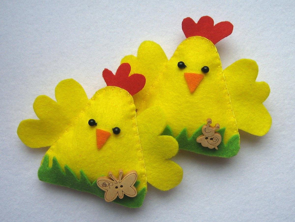 Оригинальные цыплята из фетра