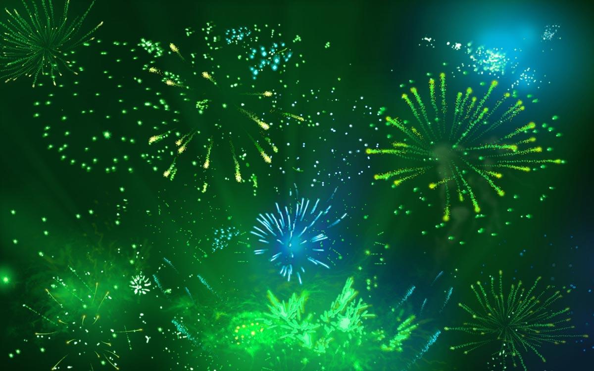 Зеленый фейерверк в Ирландии. Фото с сайта picsfab.com