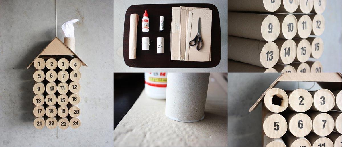 Адвент-календарь из туб от туалетной бумаги. Фото с сайта lifelikbez.ru