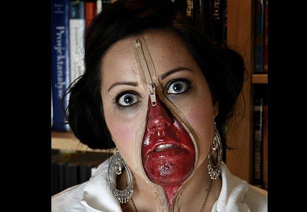 Необычный макияж с молнией. Фото с сайта blogs.rtl.be