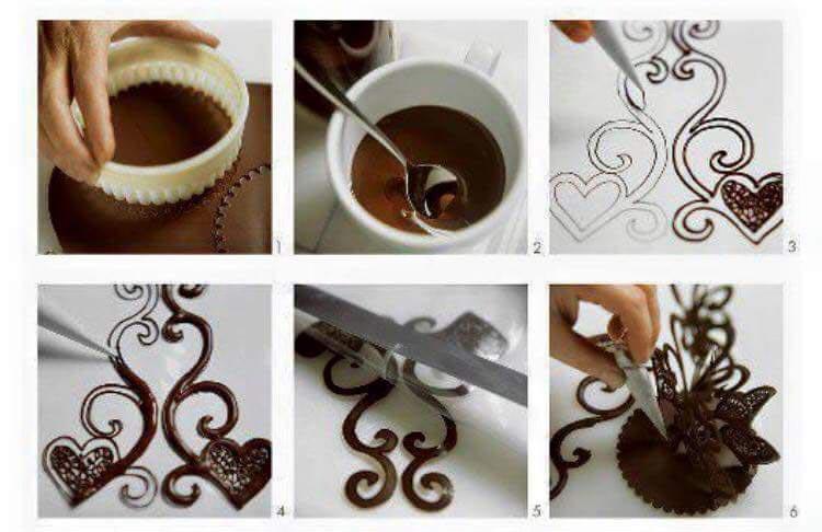 Шоколадные фигурки по трафарету. Фото с сайта www.hochoichiase.com