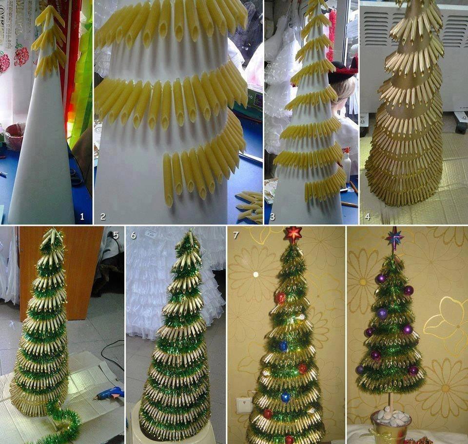 Новогоднее дерево из макарон. Фото с сайта p.uniqhand.ru