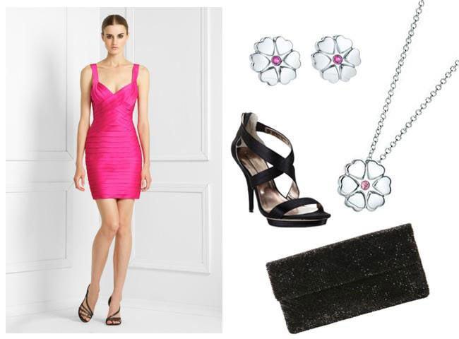 Готовый лук с розовым платьем