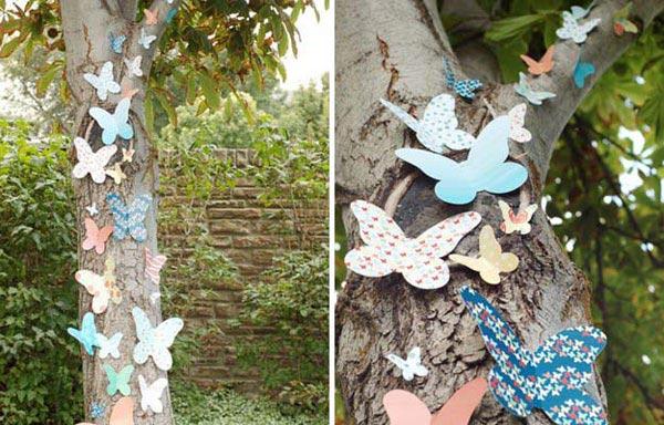 Бумажные украшения на природе
