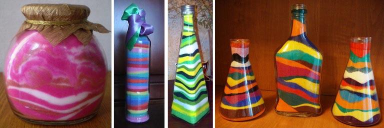 """""""Сыпучий"""" декор бутылок. Фото: ykdom.ru"""
