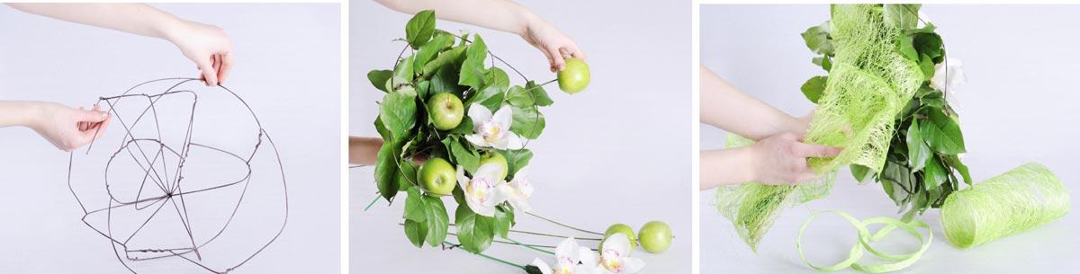 Букет из цветов и яблок. Фото с сайта www.florist.ru