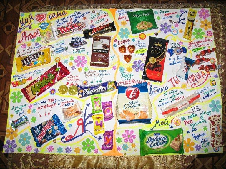 Плакат со сладостями – креативно и вкусно. Фото: podari-mari.ru