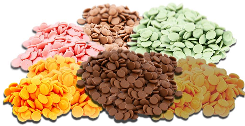 Разноцветный шоколад для фонтана. Фото с сайта allchoco.com