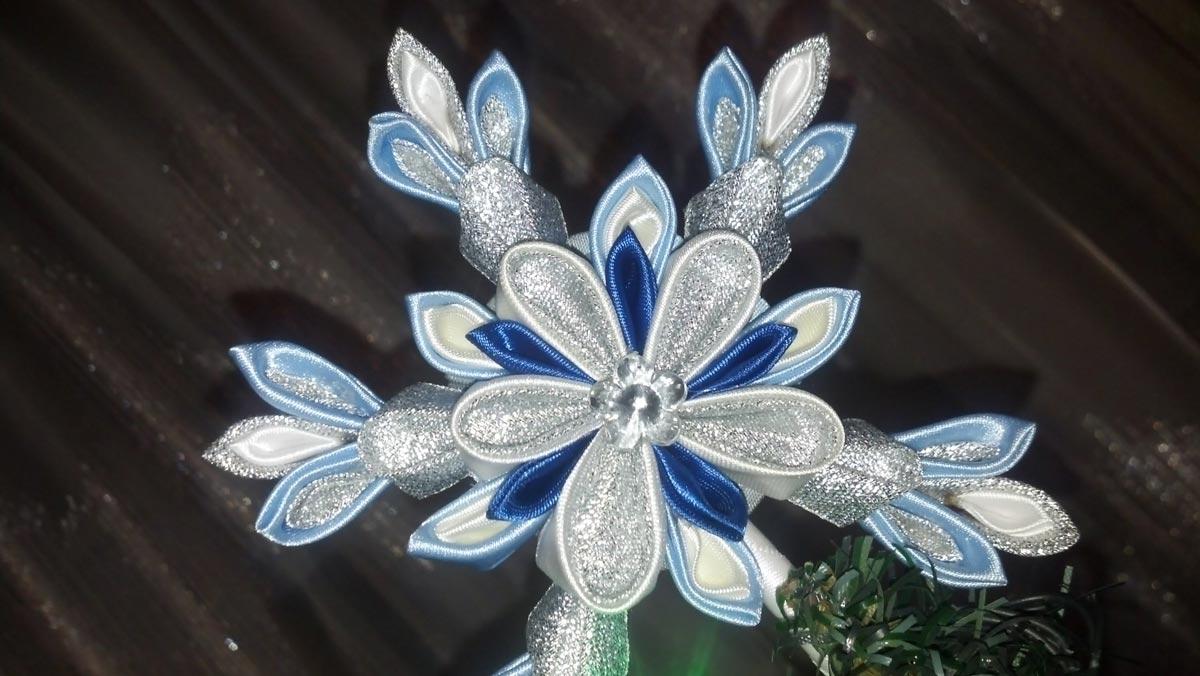 Снежинка канзаши сложной формы. Фото с сайта ytimg.com