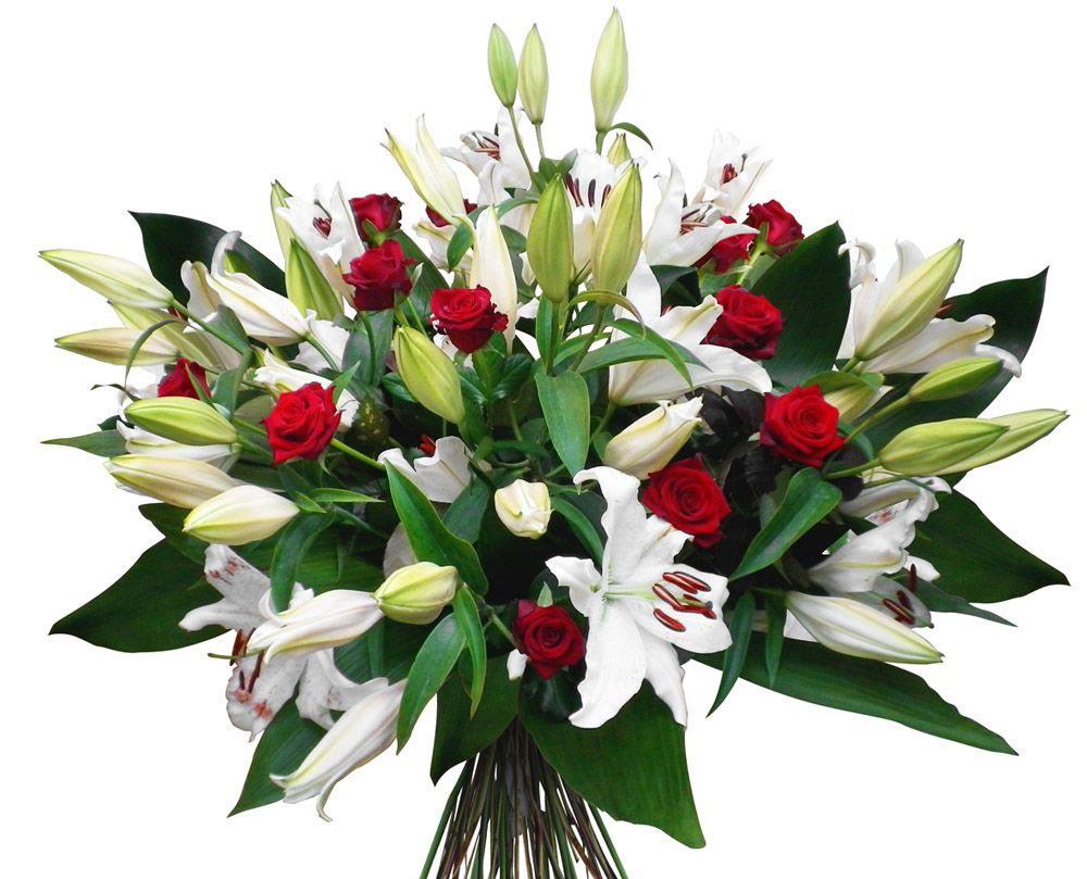 Букет из лилий и роз. Фото с сайта kartinki-cvetov.ru