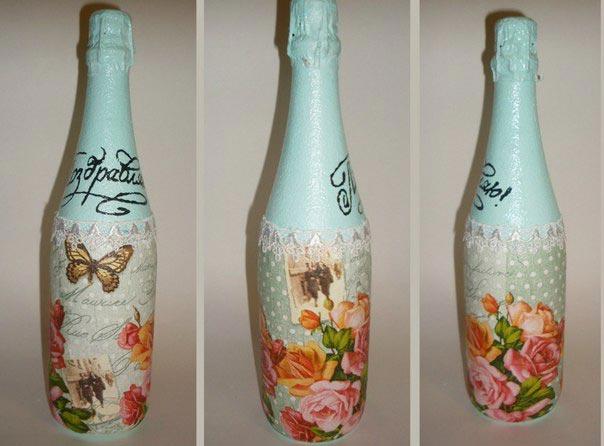 Декупаж бутылки шампанского. Фото с сайта vk.com