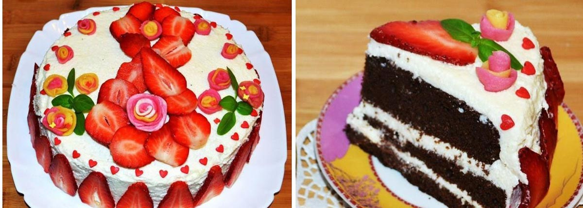 Клубничный торт на 8 Марта. Фото с сайта fotorecept.com