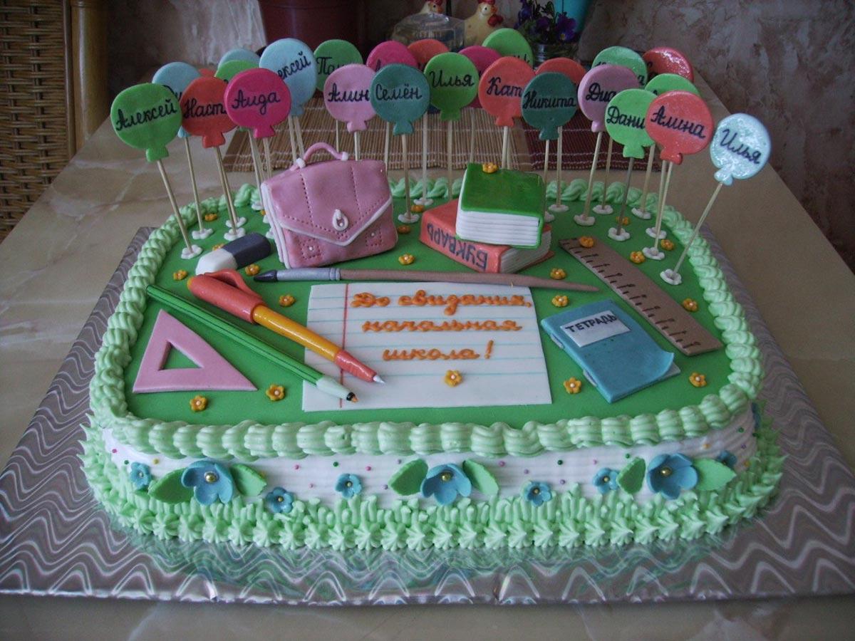 Торт на выпускной в 4 классе. Фото с сайта netangels.ru