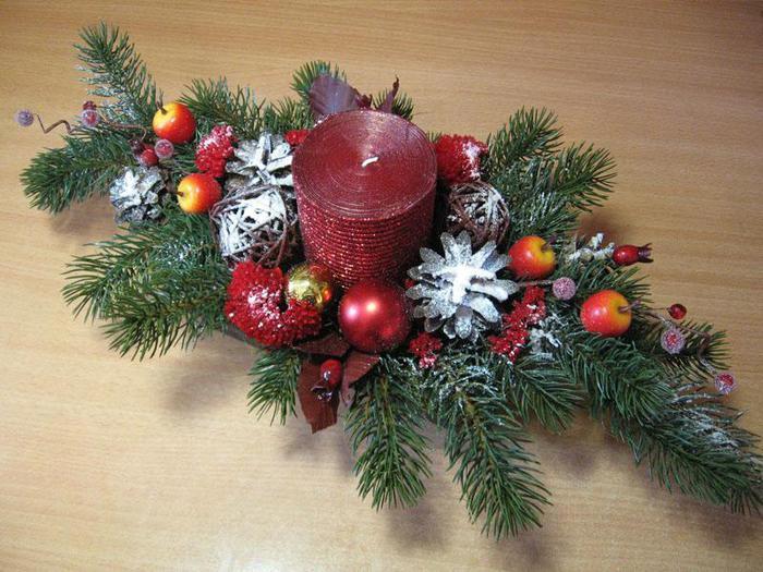 Новогодняя композиция из свечей. Фото с сайта liveinternet.ru